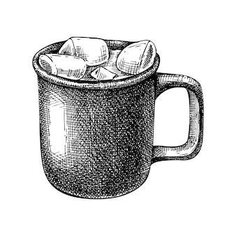 Winter drankje illustratie handgetekende warme chocolademelk met marsh mallows