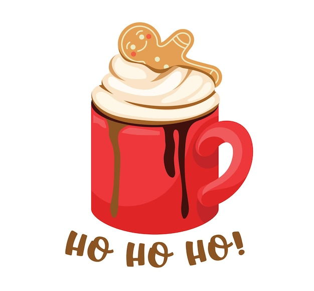 Winter drankje in rode beker, warme drank met slagroom