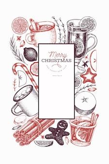 Winter drankjes sjabloon. handgetekende gegraveerde stijl glühwein, warme chocolademelk, specerijen illustraties. vintage christmas achtergrond.