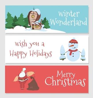 Winter en kerst banner set