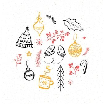Winter en kerst designelementen. handgetekende illustraties van gebreide wanten en muts, decoraties en takken. vector tekeningen.