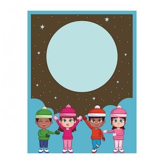 Winter en kinderen kaart