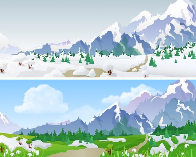 Winter en lente landschappen met bergen en vallei vectorillustratie.