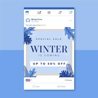 Winter facebook postsjabloon geïllustreerd