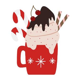 Winter feestelijke mok met warme chocolademelk of koffie chocolade cacao li koffie met room
