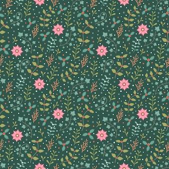 Winter flora en sneeuwvlok naadloze patroon vector achtergrond