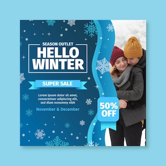 Winter flyer vierkante concept
