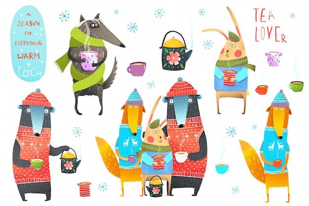 Winter forest animals drinking tea illustraties