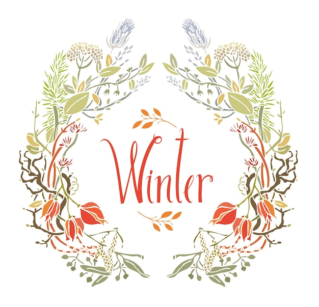 Winter frame van bladeren en takjes
