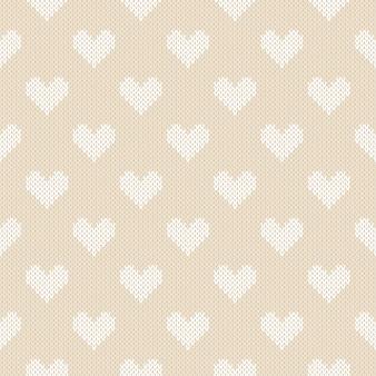 Winter gebreid patroon met harten. valentijnsdag naadloze achtergrond