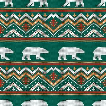 Winter gebreide wollen patroon met ijsberen