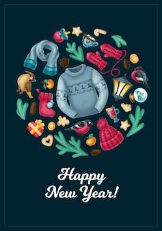 Winter gezellige vakantie items kerstmis en nieuwjaar wenskaart banner poster flyer vector art
