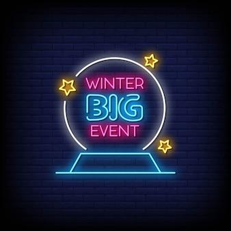 Winter grote verkoop neonreclames stijl tekst