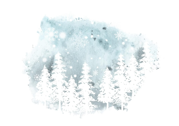 Winter handgeschilderde aquarel. kunstwerk vuren bos silhouet met sneeuwvlokken en sneeuwval op vlek splatter aquarel achtergrond.