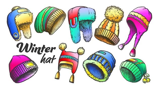 Winter hoed kleding accessoire retro set