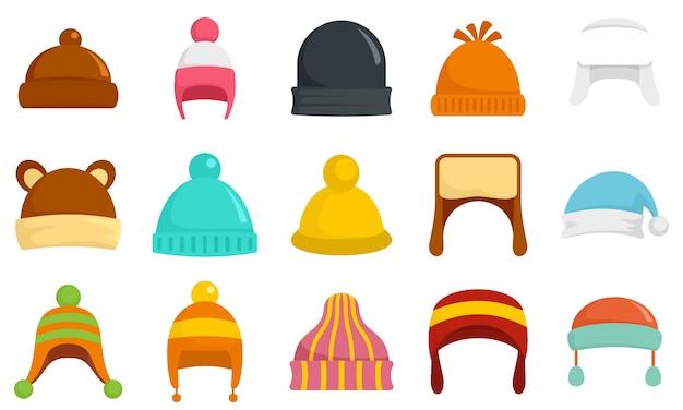 Winter hoofddeksels icon set