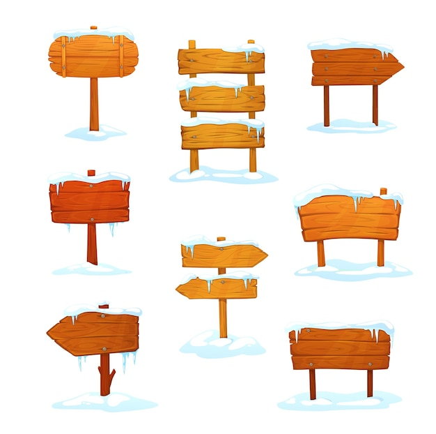 Winter houten borden, cartoon uithangborden met sneeuw
