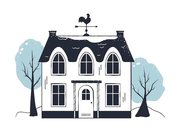 Winter huis en landschap illustratie kerst lijn gebouw gevel minimale kleur