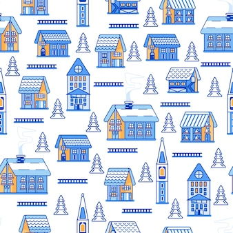 Winter huizen naadloos patroon