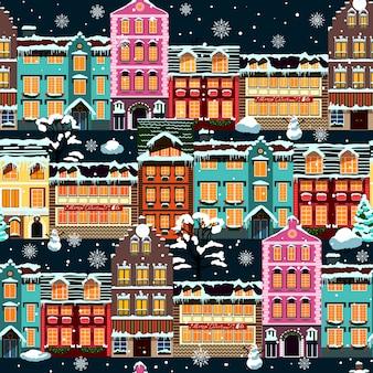Winter huizen naadloze nacht