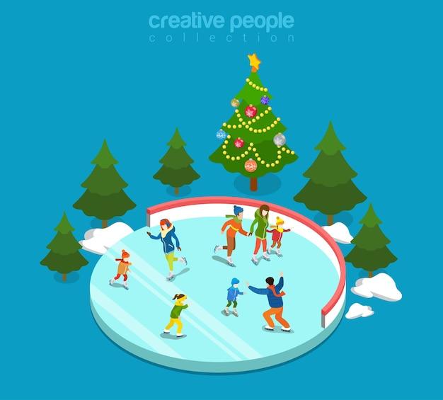 Winter ijsbaan sport jonge gelukkige mensen familie activiteit icon set plat isometrie isometrisch concept web illustratie moeder vader zoon jongen meisje schaatsers dennenboom creatieve mensen collectie