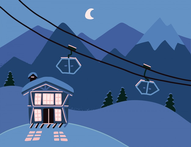 Winter illustratie met een hotel in besneeuwde bergen 's nachts. houten woonappartement, chalet in resort om te skiën, snowboarden. kleurrijke achtergrond met gezellige, moderne cottage.