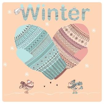 Winter illustratie van mannen en vrouwen wanten, vogelliefhebbers en woord winter.