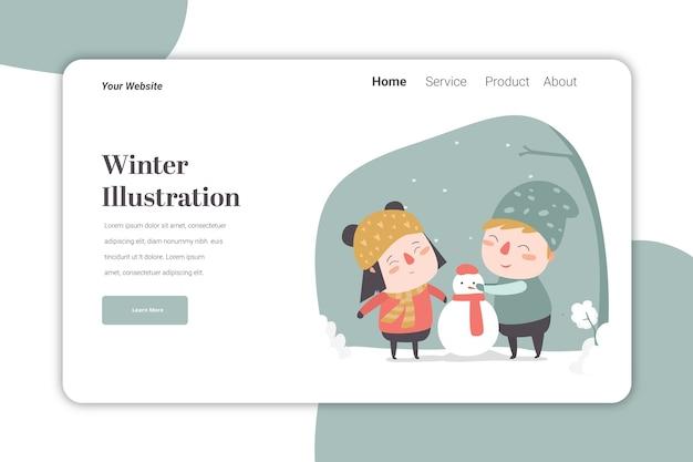 Winter ilustration landingspagina sjabloon schattig karakter