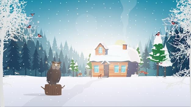 Winter in het bos. een huis in een besneeuwd naaldbos. bos, bomen, huisje, uil, snigeri.