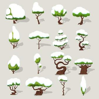 Winter ingesneeuwde bomen collectie