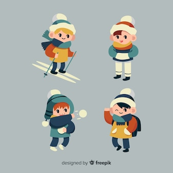 Winter jongens tekens collectie