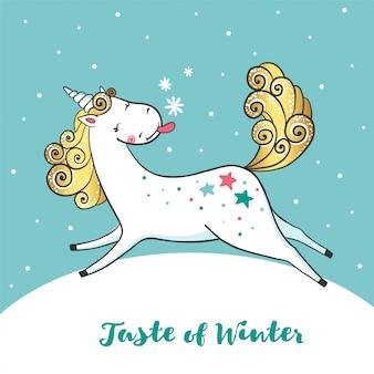 Winter kaart met schattige eenhoorn en sneeuwvlokken.