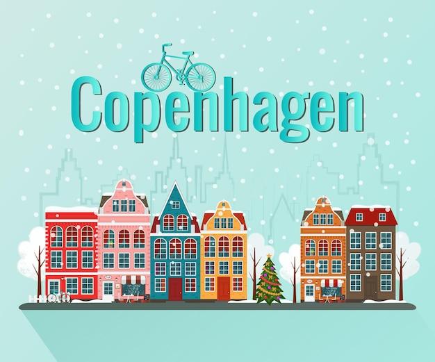 Winter kerst kopenhagen. oude europese stad.