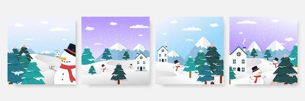 Winter kerst nieuwjaar en eindejaar verkoop vierkante sjabloon voor sociale media. universele kerst winterkaart met sneeuw, ballon, cadeau, boom, berg, ster en sneeuwvlok, glitter en sneeuwpop.