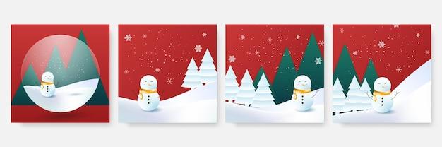Winter kerst social media postsjabloon. kaartsjabloon met ballon, sneeuwpop, cadeau, sneeuw en palmboom. bruikbaar voor social media, banner en web internet advertenties.