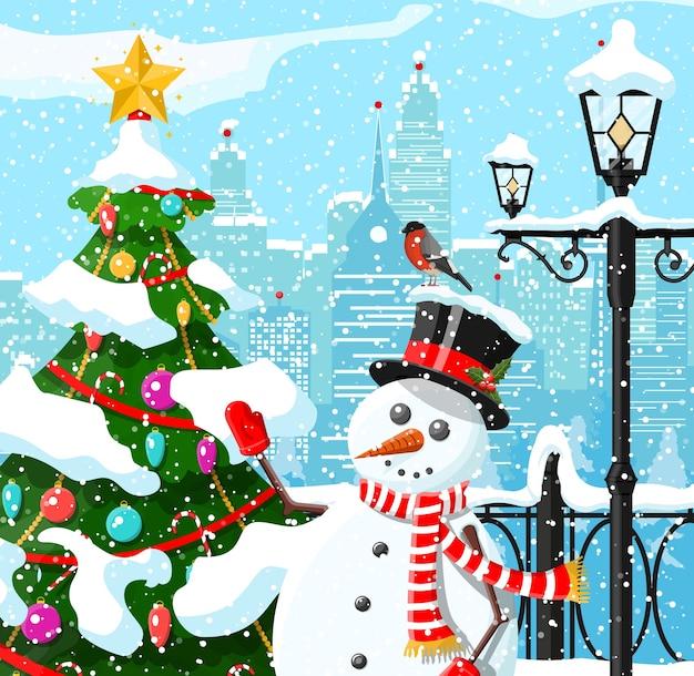 Winter kerst stad achtergrond