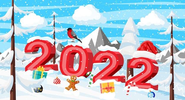 Winter kerstmis achtergrond. pijnboomhout en sneeuw. winterlandschap met sparren bos, bergen en sneeuwt. gelukkig nieuwjaarsfeest. nieuwjaar kerstvakantie. vectorillustratie vlakke stijl