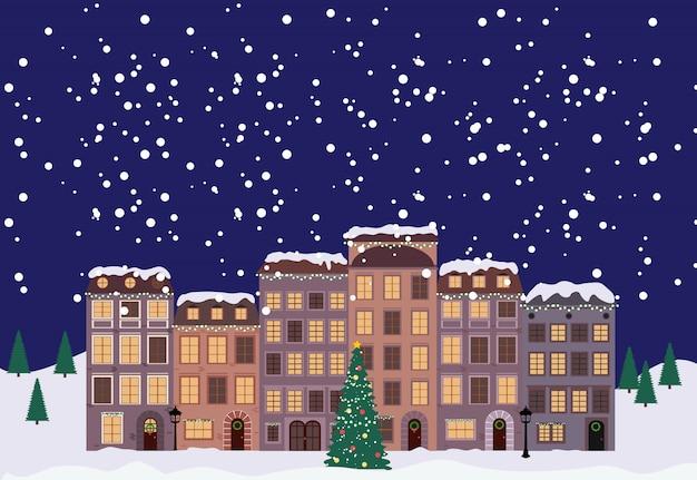 Winter kerstmis en nieuwjaar little town in retro stijl