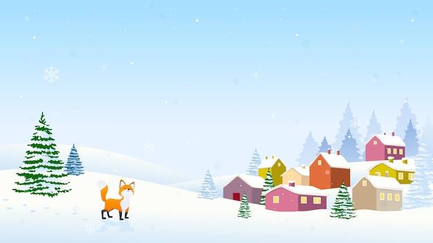 Winter kerstmis landschap achtergrond vector