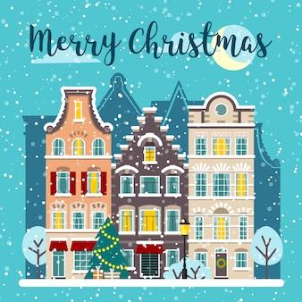 Winter kerstmis stad straat vector landschap