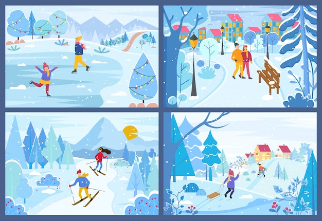 Winter kerstvakantie van mensen in parken set