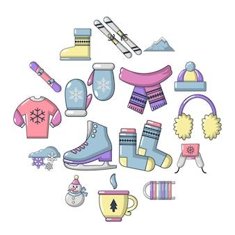 Winter kleding iconen set, cartoon stijl