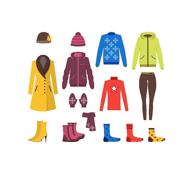 Winter kleding vrouw instellen mode seizoensgebonden winkelen vlakke stijl.