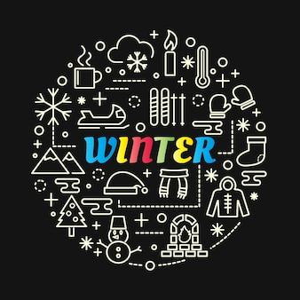 Winter kleurrijke verloop met lijn pictogrammen instellen