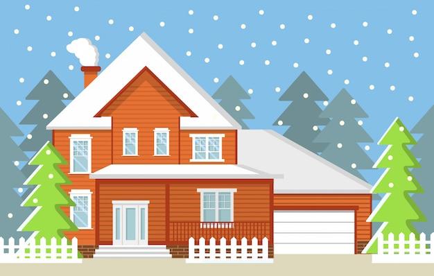 Winter landelijke landschap fir-bomen land privé huisje met een garage en de vallende sneeuw.