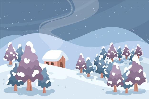 Winter landschap concept in de hand getekend
