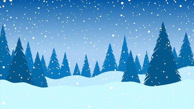 Winter landschap. vallende sneeuw. kerst achtergrond. vector illustratie