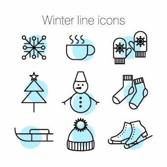 Winter lijn iconen