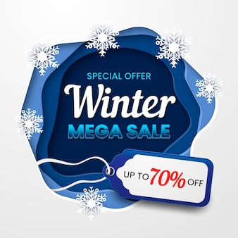 Winter mega sale met papercut-stijl