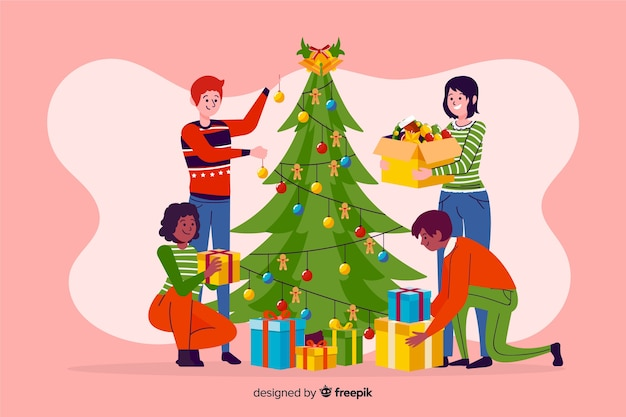 Winter mensen versieren boom